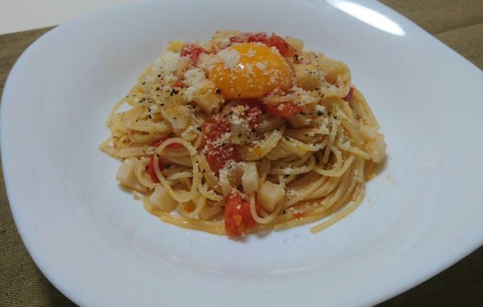 レンコンとトマトのパスタ